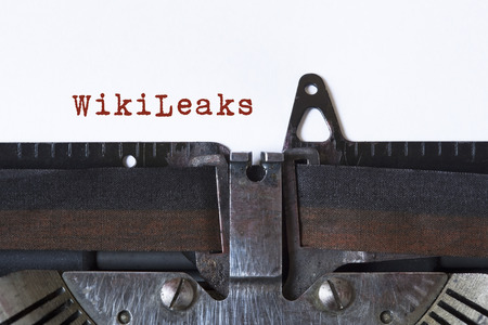 WikiLeaks written on a vintage typewriter Reklamní fotografie - 80940378