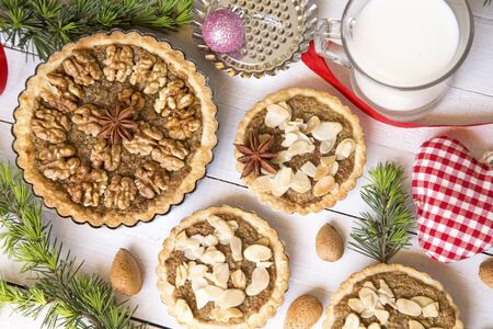 Almond and nuts tarts with the Christmas decoration Stock Photo
