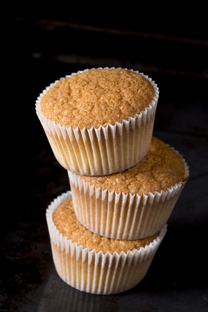 Muffins on black background