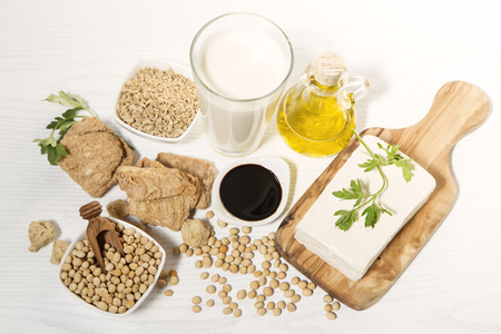 Various soy products on white background