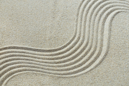 Sand pattern of the miniature zen garden
