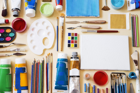 Various painting equipment as background Stock Photo