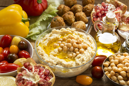 Traditional hummus with falafel and vegetables