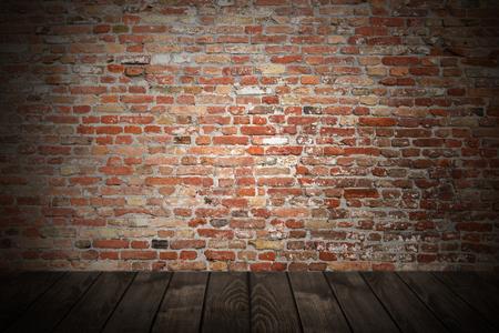 Wooden board over grunge brick wall Stok Fotoğraf