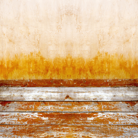 Grunge wooden board and grunge wall background