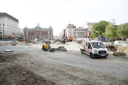 Belgrade, Serbia - April 25, 2019. Belgrade Republic Square under reconstruction by heavy machinery.