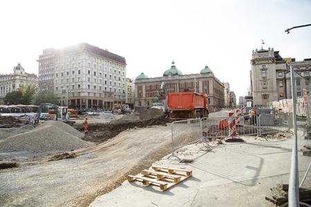 Belgrade, Serbia - April 25, 2019. Belgrade Republic Square under reconstruction by heavy machinery.Belgrade is capital city of Serbia. Archivio Fotografico - 123262859
