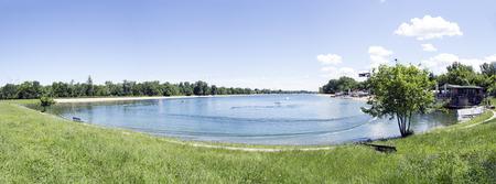 Panoramic view of Ada Ciganlija lake in Belgrade Reklamní fotografie