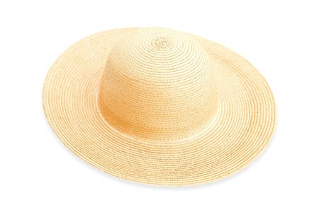 Woman`s straw hat on white background
