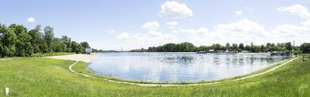 Panoramic view of Ada Ciganlija lake in Belgrade