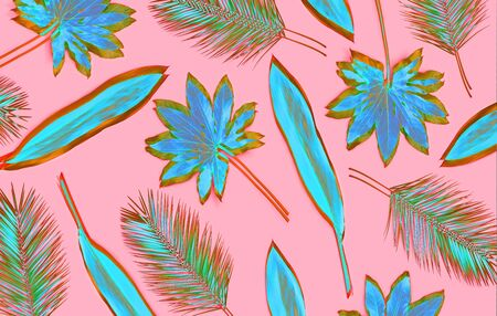 Artistic palm leaves pattern on pink background
