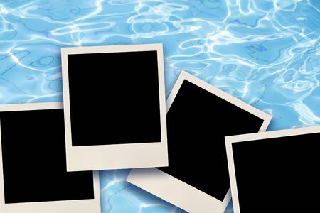 Blank instant images over water background