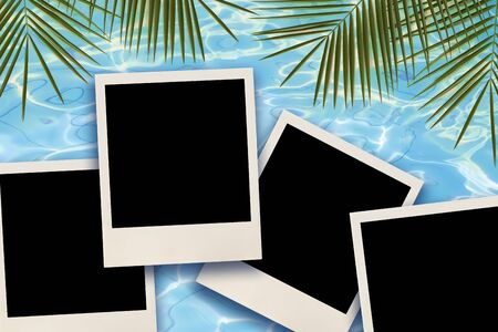 Blank instant images over water and palm leaves background