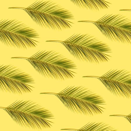 Green palm leaves pattern on yellow background
