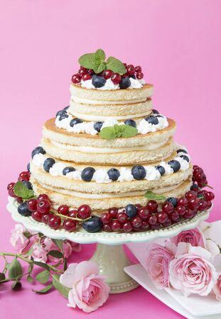 Tarta de frutas con grosellas y arándanos