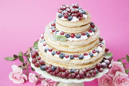 Fruit torte with currant and blueberries