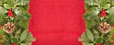 Christmas decoration on a red burlap background