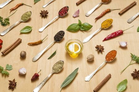 Various herbs and spices in vintage spoons