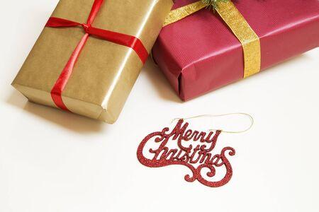 Decorative christmas presents on white background Stok Fotoğraf