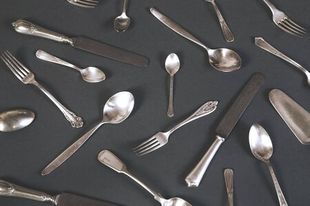 Vintage silverware on gray background Stok Fotoğraf