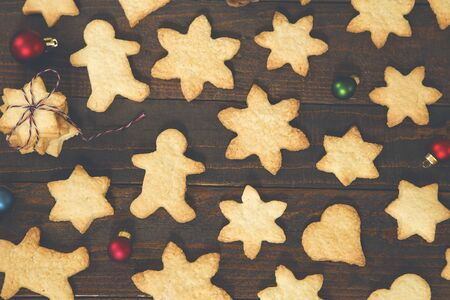 Gingerbread cookies with a Christmas decoration 写真素材
