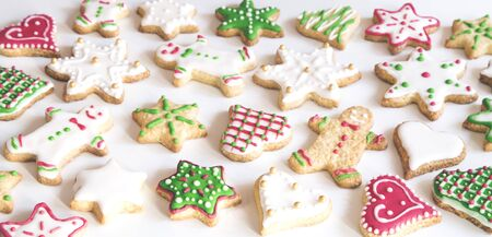 Colorful gingerbread cookies on white background 写真素材