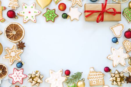Christmas and New Year background with the various ornaments