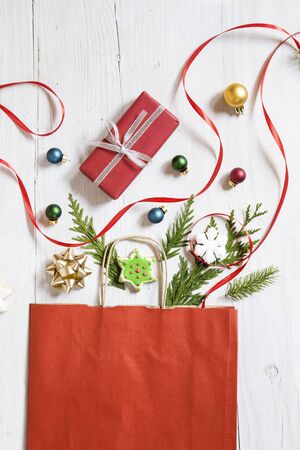 Christmas and New Year decoration with the paper shopping bag