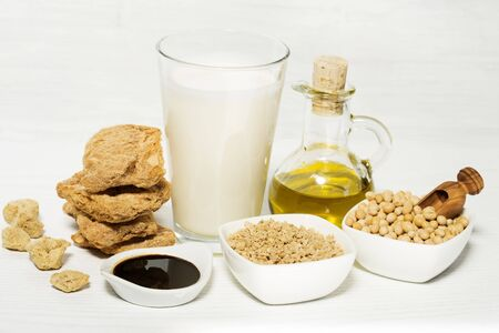 Soy products on white background Stockfoto