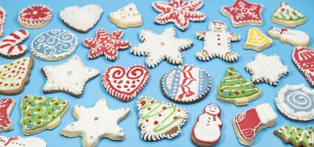 Gingerbread cookies on blue background