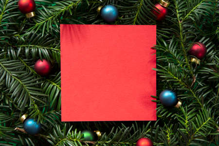 New Yaer and Christmas red greeting card with decoration
