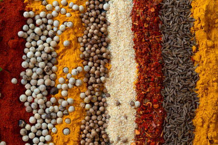 Various spices texture close up