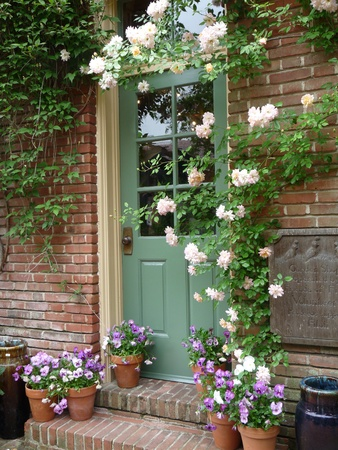 Mooie deur met bloemen Stockfoto