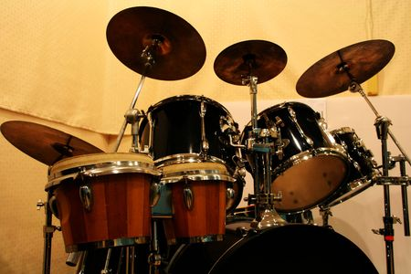 cymbals: Percussion Instruments Consisting Drum, Cymbals and The Like Stock Photo