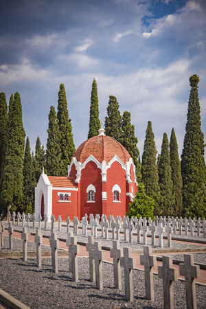 AUGUST 2017, THESSALONIKI GREECE: Zejtinlik military cemetary, joined graves of French soldiers fallen in WWI Editorial