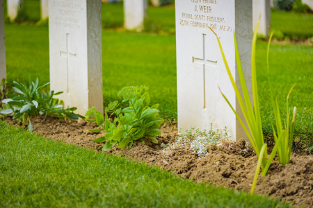 AUGUST 2017, THESSALONIKI GREECE: Zejtinlik military cemetary, joined graves of English and Irish fallen soldiers in WWI Editorial