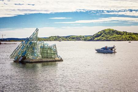 OSLO, NORWAY - JUNE, 2015: Glass sculpture She Lies near opera house Editorial