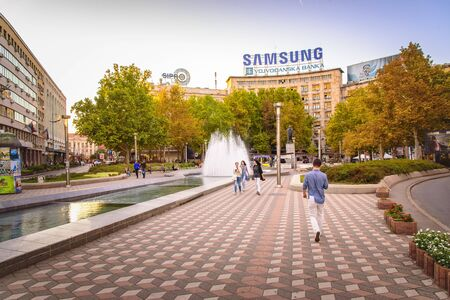 BELGRADE SERBIA, SEPTEMBER 2017: Nikola Pasic Square, Trade Union Hall, Dom Sindikata, youngest square in Belgrade, next to Terazije and House of Parliament Editorial