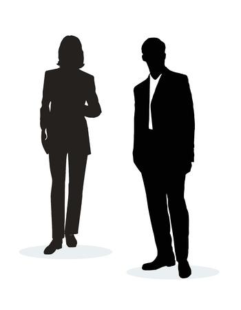 garde corps: Illustration vectorielle de silhouettes business people