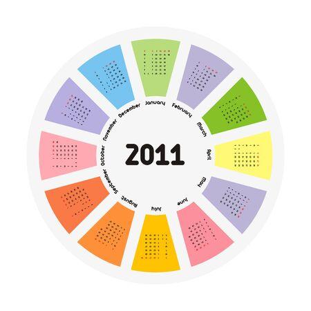 Circular design of colorful calendar for 2011.Week starts on sunday. Vector