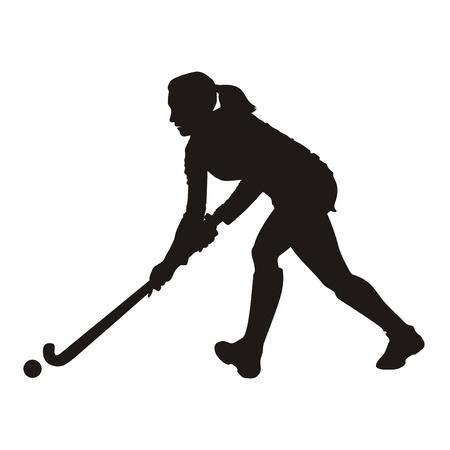 hockey cesped: Silueta de jugador de hockey sobre hierba Foto de archivo