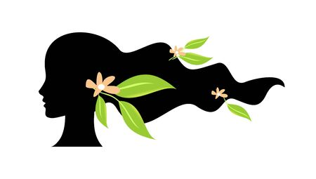 Woman silhouette with green leaves and flowers