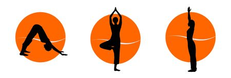Yoga silhouettes Stock Photo - 10419431
