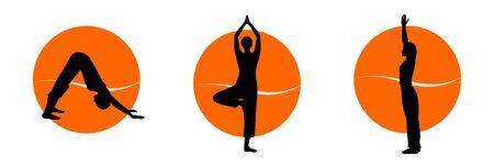 Yoga silhouettes Stock Photo - 10419431