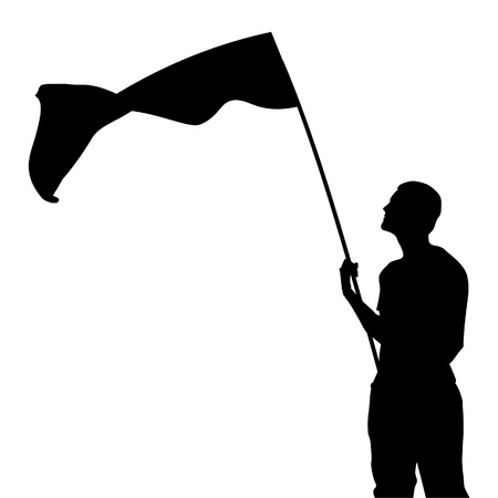 Man with flag silhouette. Vector illustration Illustration