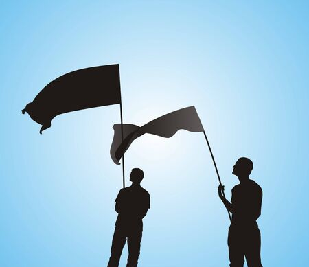 Men with flag silhouettes  photo