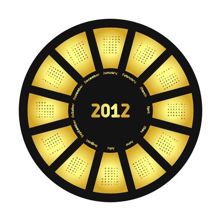 Circle calendar for 2012 year. Gold&Black. Vector illustration. Vector