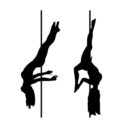 nude young: pole dancer silhouettes Illustration