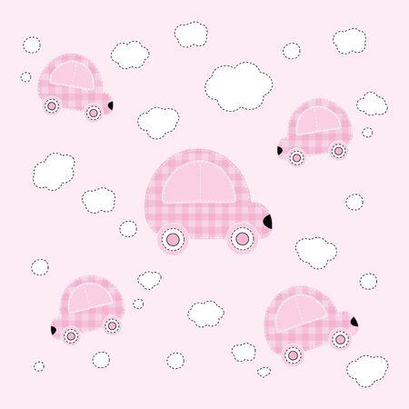 carritos de juguete: Ilustración vectorial de patrón de bebé