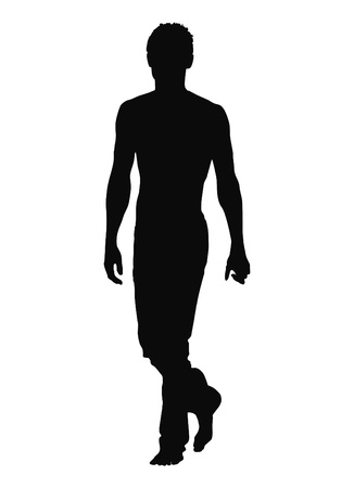 pessoa irreconhec�vel: Silhouette of walking man. Vector illustration.